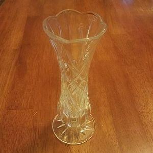 Crystal Diamond Cut Glass Bud Vase 8in